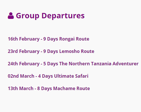 Tanzania Group Tours